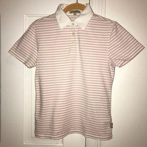Burberry Pink Stripe Polo Shirt